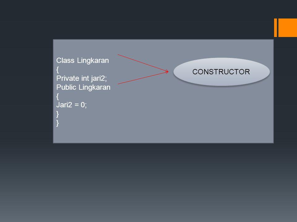 Class Lingkaran { Private int jari2; Public Lingkaran { Jari2 = 0; } CONSTRUCTOR