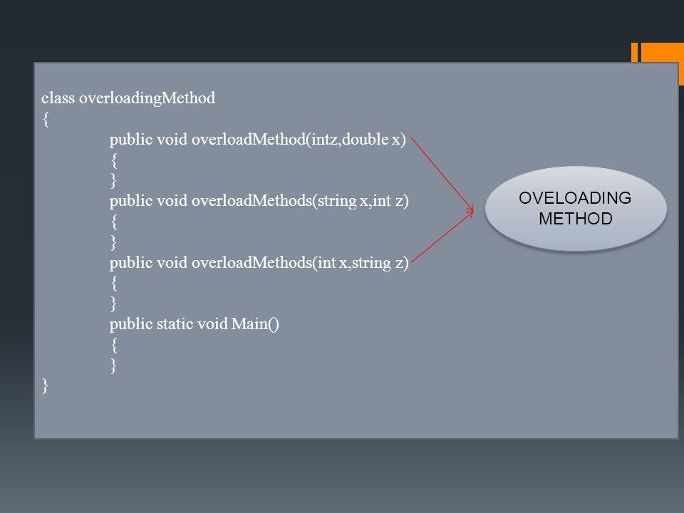 class overloadingMethod { public void overloadMethod(intz,double x) { } public void overloadMethods(string x,int z) { } public void overloadMethods(int x,string z) { } public static void Main() { } OVELOADING METHOD