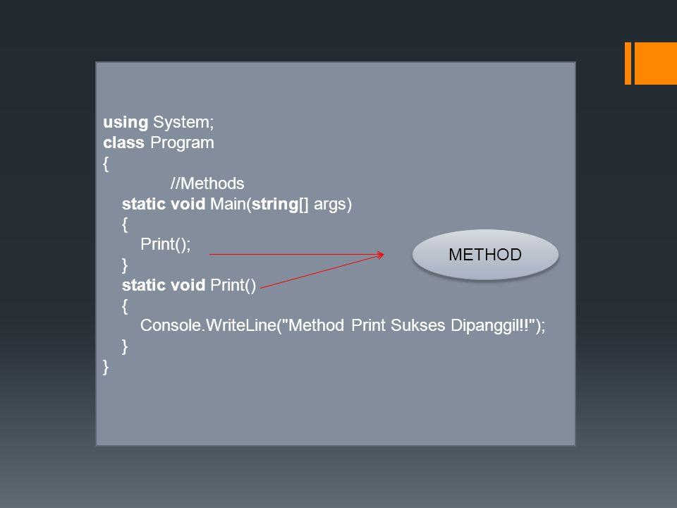 using System; class Program { //Methods static void Main(string[] args) { Print(); } static void Print() { Console.WriteLine(