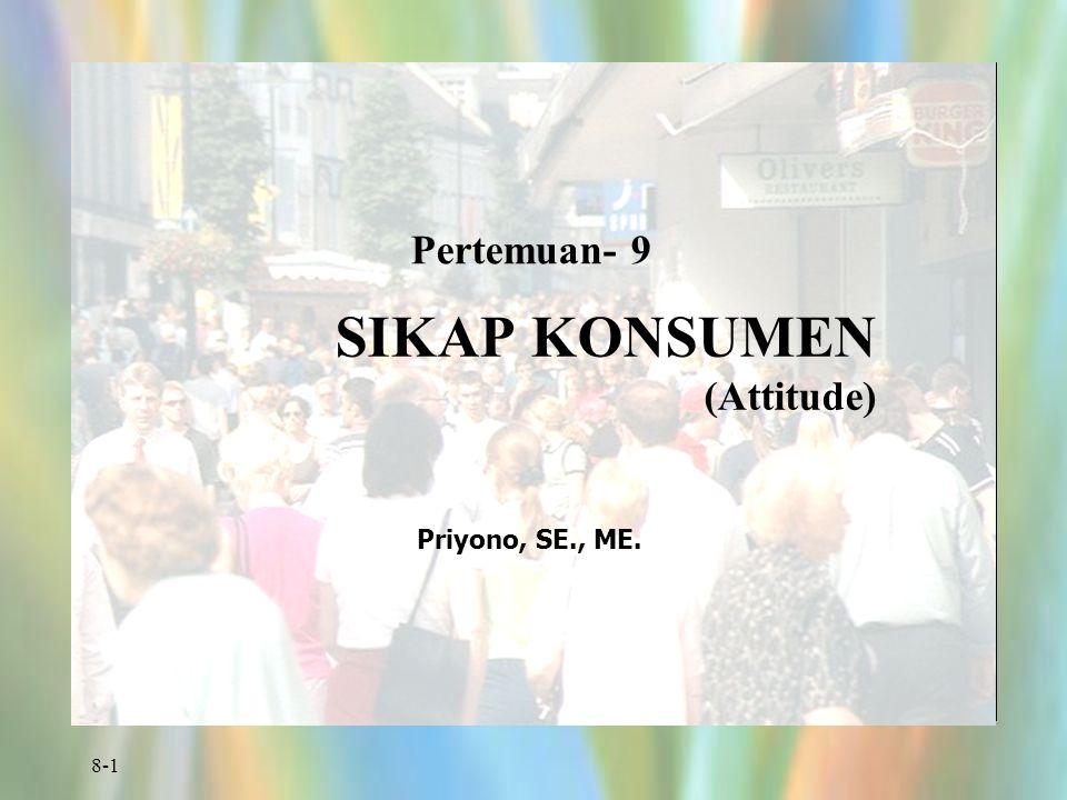 8-1 Pertemuan- 9 SIKAP KONSUMEN (Attitude) Priyono, SE., ME.