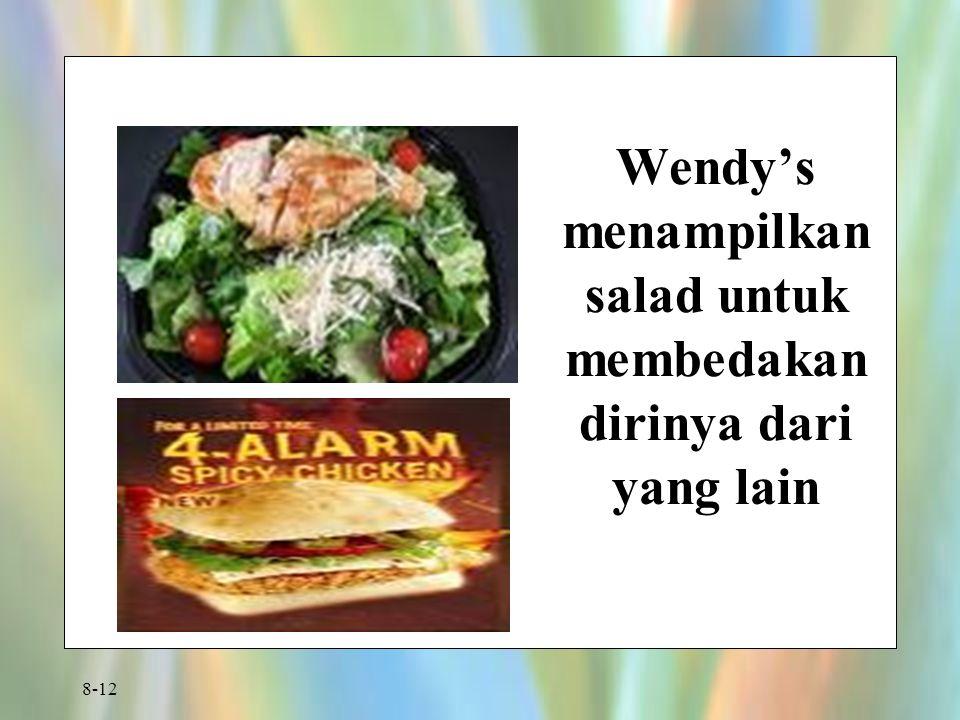 8-12 Wendy's menampilkan salad untuk membedakan dirinya dari yang lain