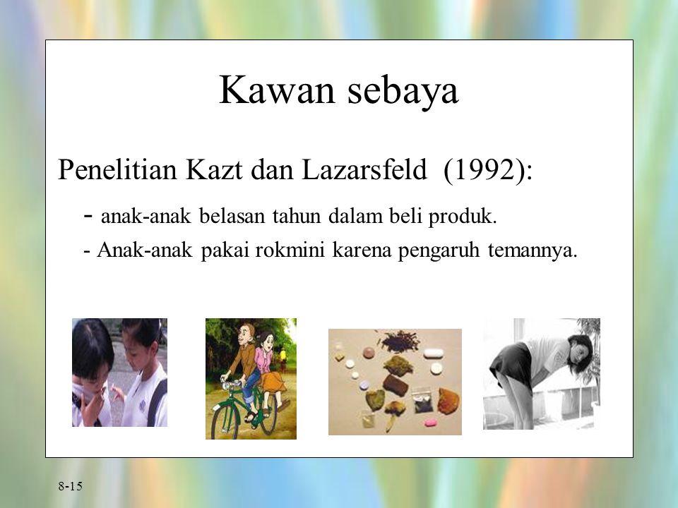 8-15 Kawan sebaya Penelitian Kazt dan Lazarsfeld (1992): - anak-anak belasan tahun dalam beli produk. - Anak-anak pakai rokmini karena pengaruh temann