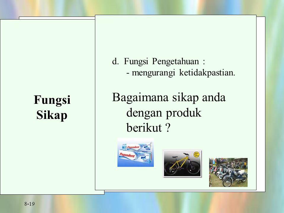 8-19 FungsiSikap d. Fungsi Pengetahuan : - mengurangi ketidakpastian. Bagaimana sikap anda dengan produk berikut ?