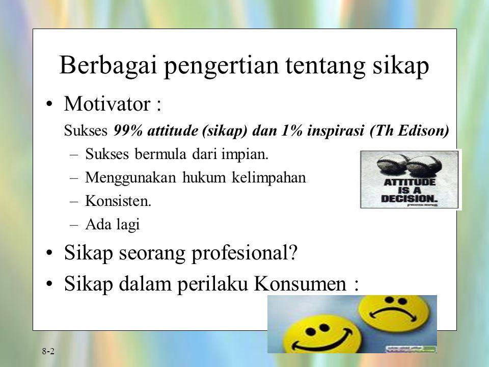 8-2 Berbagai pengertian tentang sikap Motivator : Sukses 99% attitude (sikap) dan 1% inspirasi (Th Edison) –Sukses bermula dari impian. –Menggunakan h