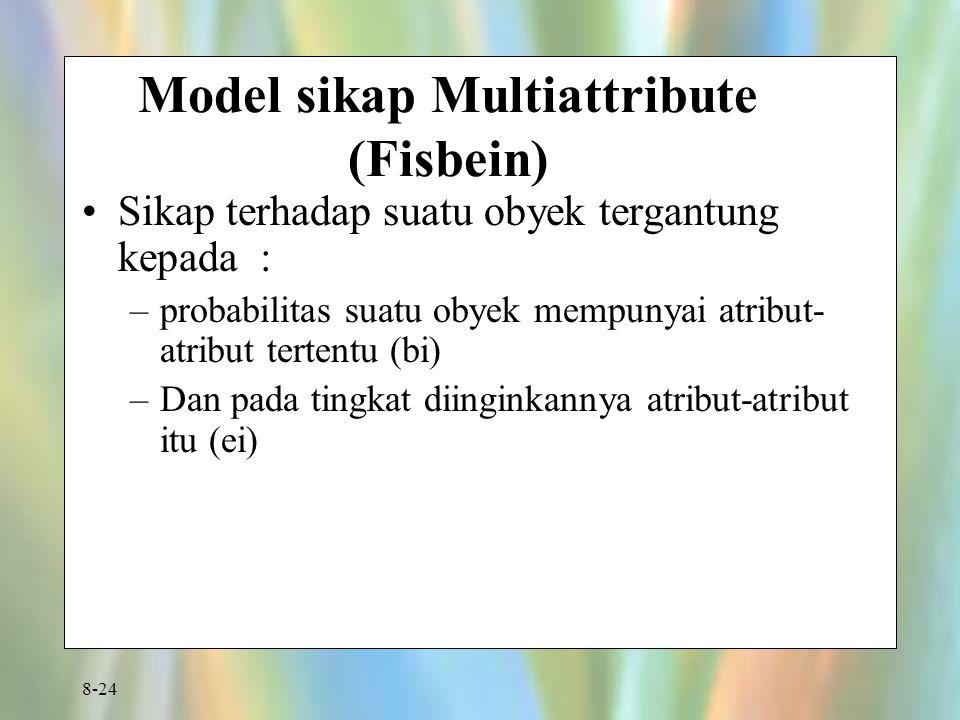 8-24 Model sikap Multiattribute (Fisbein) Sikap terhadap suatu obyek tergantung kepada : –probabilitas suatu obyek mempunyai atribut- atribut tertentu
