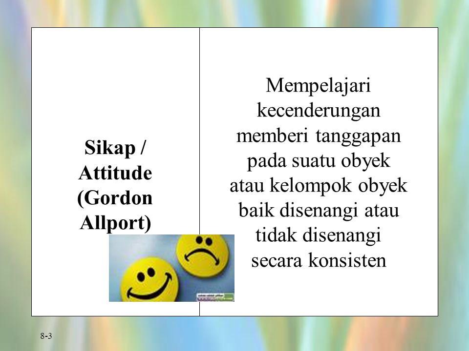 8-3 Sikap / Attitude (Gordon Allport) Mempelajari kecenderungan memberi tanggapan pada suatu obyek atau kelompok obyek baik disenangi atau tidak disen
