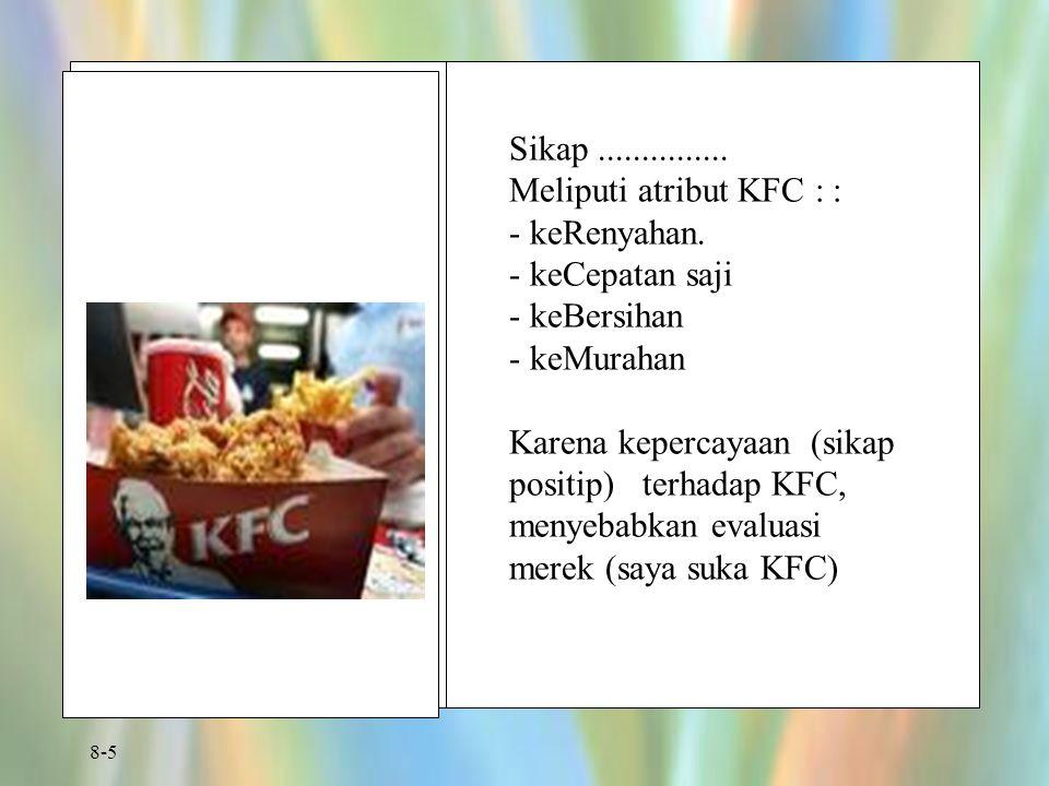 8-5 Sikap............... Meliputi atribut KFC : : - keRenyahan. - keCepatan saji - keBersihan - keMurahan Karena kepercayaan (sikap positip) terhadap