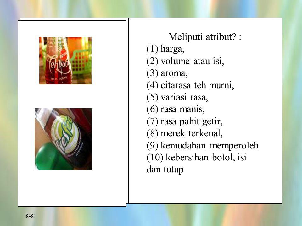 8-8 Meliputi atribut? : (1) harga, (2) volume atau isi, (3) aroma, (4) citarasa teh murni, (5) variasi rasa, (6) rasa manis, (7) rasa pahit getir, (8)