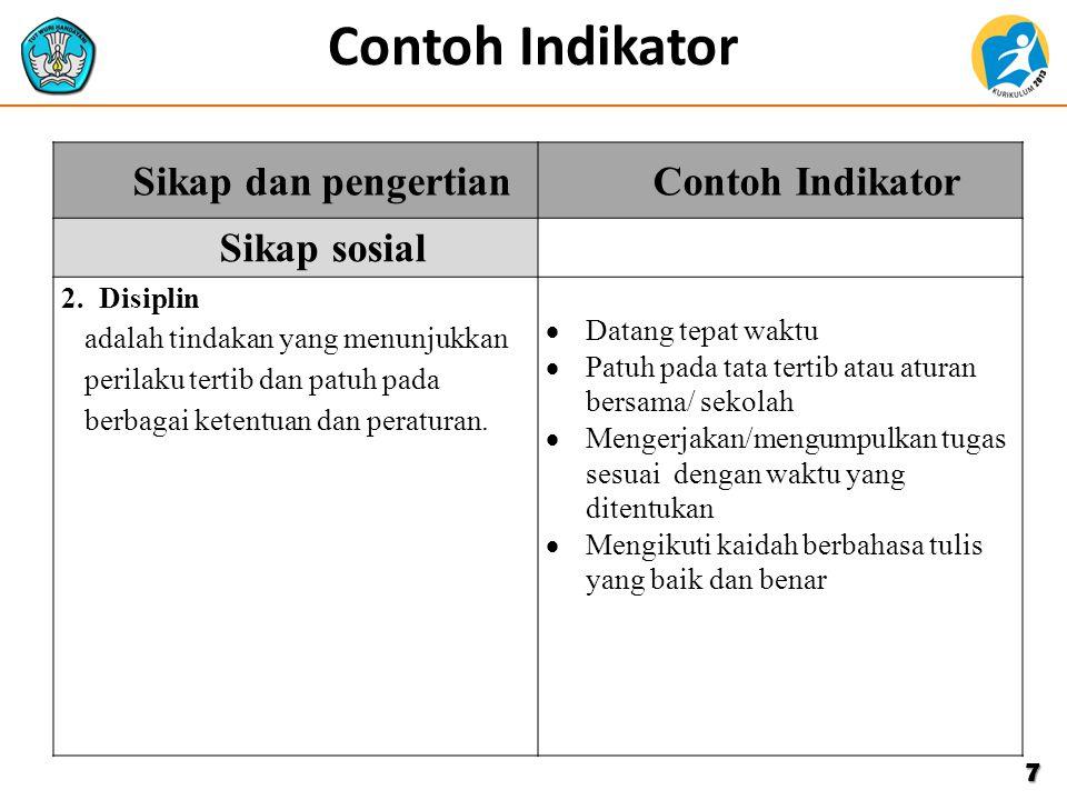 Contoh Indikator7 Sikap dan pengertianContoh Indikator Sikap sosial 2. Disiplin adalah tindakan yang menunjukkan perilaku tertib dan patuh pada berbag