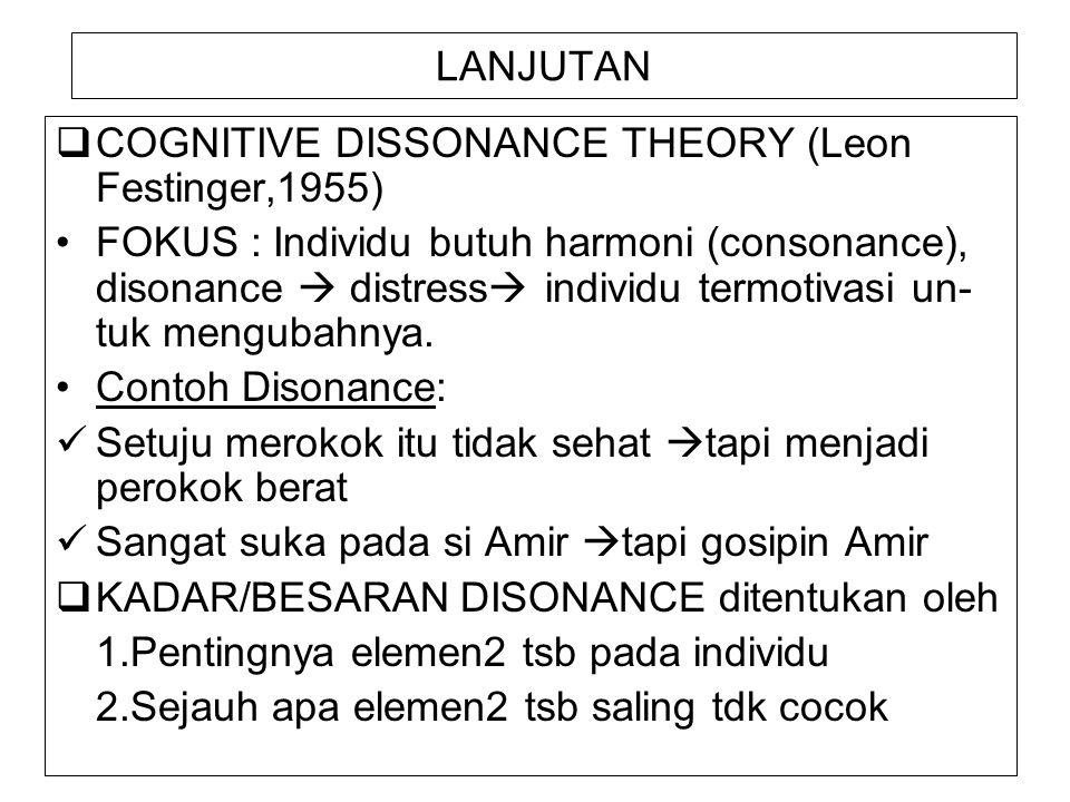 LANJUTAN  COGNITIVE DISSONANCE THEORY (Leon Festinger,1955) FOKUS : Individu butuh harmoni (consonance), disonance  distress  individu termotivasi