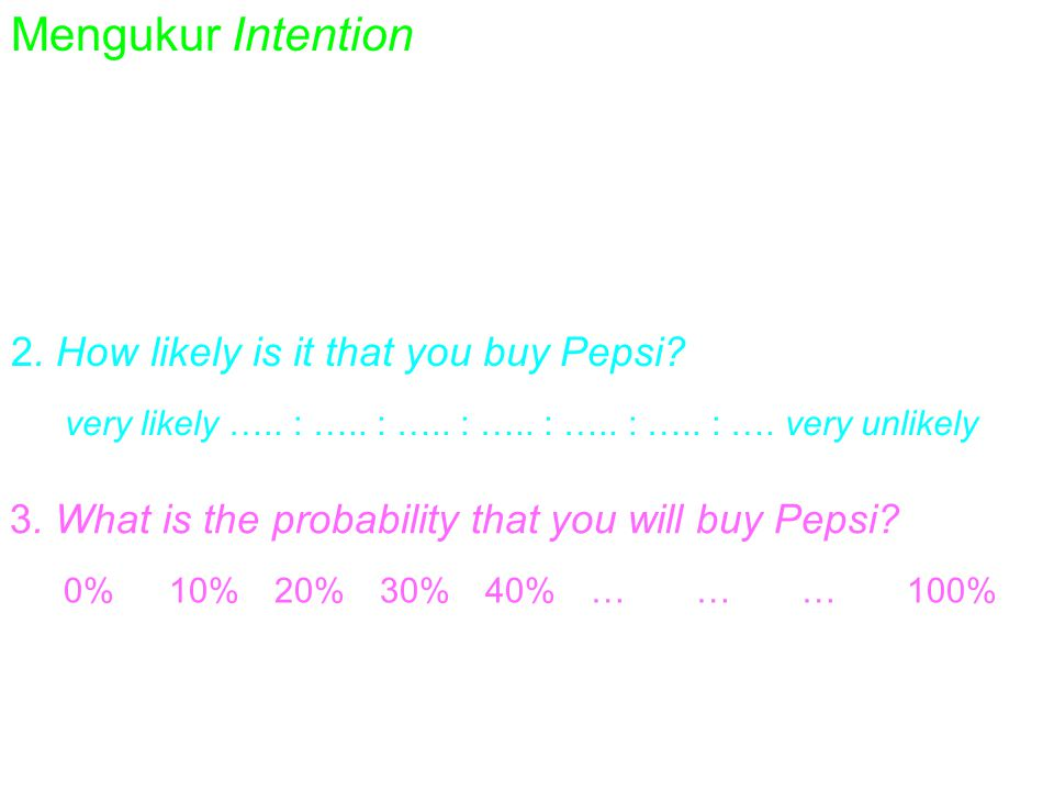 Mengukur Intention 1. Do you intend to by Pepsi? definitely intend buy.. :... :... :... :... :... :. definitely intend buy 2. How likely is it that yo