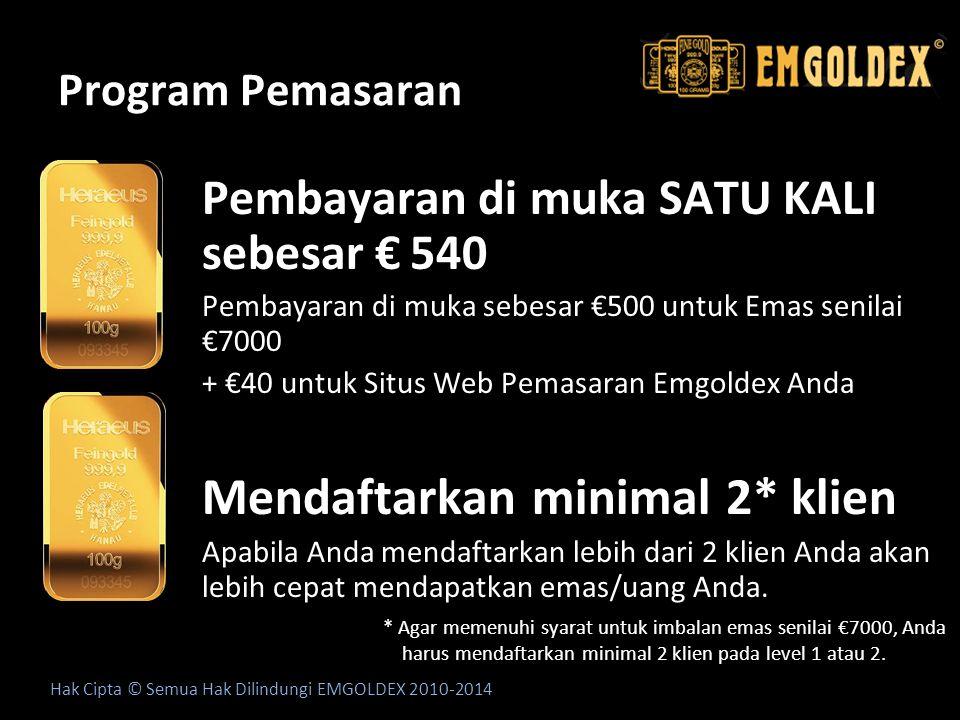 Program Pemasaran Pembayaran di muka SATU KALI sebesar € 540 Pembayaran di muka sebesar €500 untuk Emas senilai €7000 + €40 untuk Situs Web Pemasaran