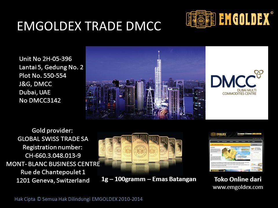 EMGOLDEX TRADE DMCC Hak Cipta © Semua Hak Dilindungi EMGOLDEX 2010-2014 Unit No 2H-05-396 Lantai 5, Gedung No. 2 Plot No. 550-554 J&G, DMCC Dubai, UAE