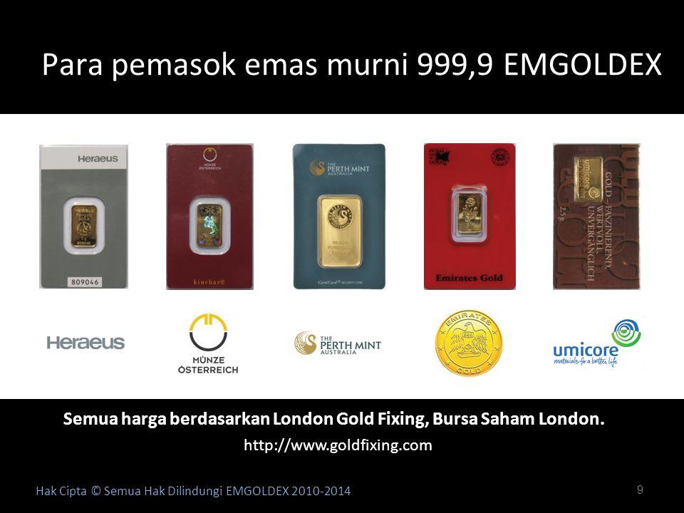 9 Para pemasok emas murni 999,9 EMGOLDEX Hak Cipta © Semua Hak Dilindungi EMGOLDEX 2010-2014 Semua harga berdasarkan London Gold Fixing, Bursa Saham L
