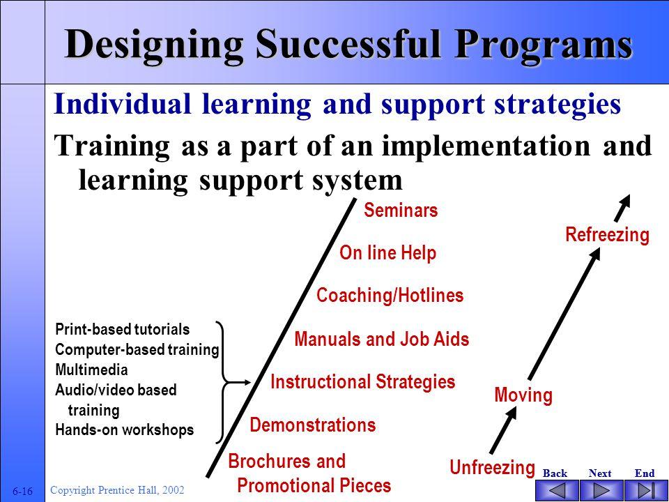 BackNextEndBackNextEnd 6-15 Copyright Prentice Hall, 2002 Analyzing Training and Support Needs Tujuan pembelajaran orang dewasa, agar dapat : - menggunakan ilmu atau teknologi yang dipelajarinya - mengintegrasikan pengetahuan yang telah dimiliki sebelumnya dengan hasil belajar/ide-ide yang baru - penyeseuaian terhadap nilai-nilai - praktis