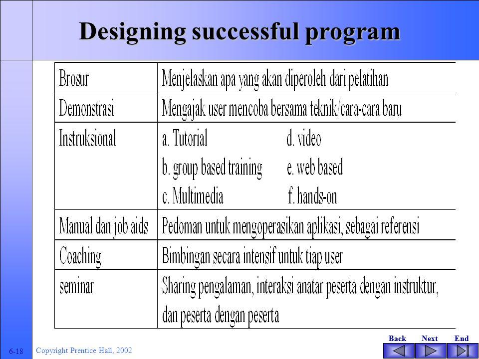 BackNextEndBackNextEnd 6-17 Copyright Prentice Hall, 2002 Designing successful program