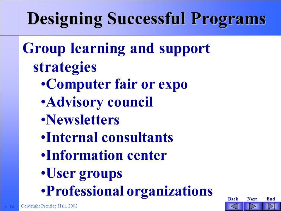 BackNextEndBackNextEnd 6-18 Copyright Prentice Hall, 2002 Designing successful program