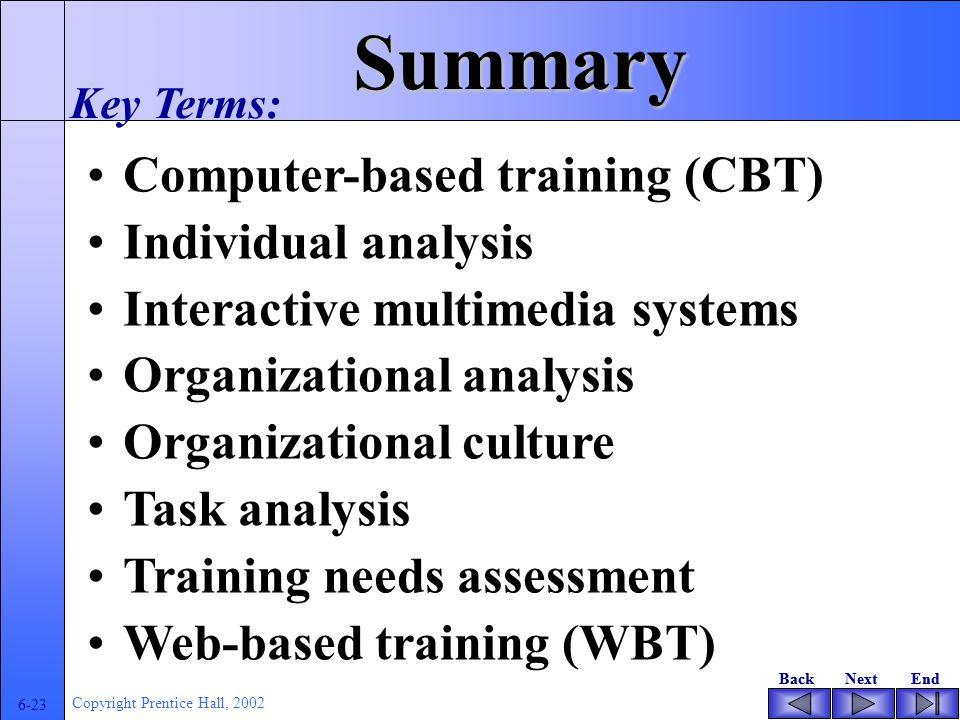 BackNextEndBackNextEnd 6-22 Copyright Prentice Hall, 2002 Implementing Successful Programs