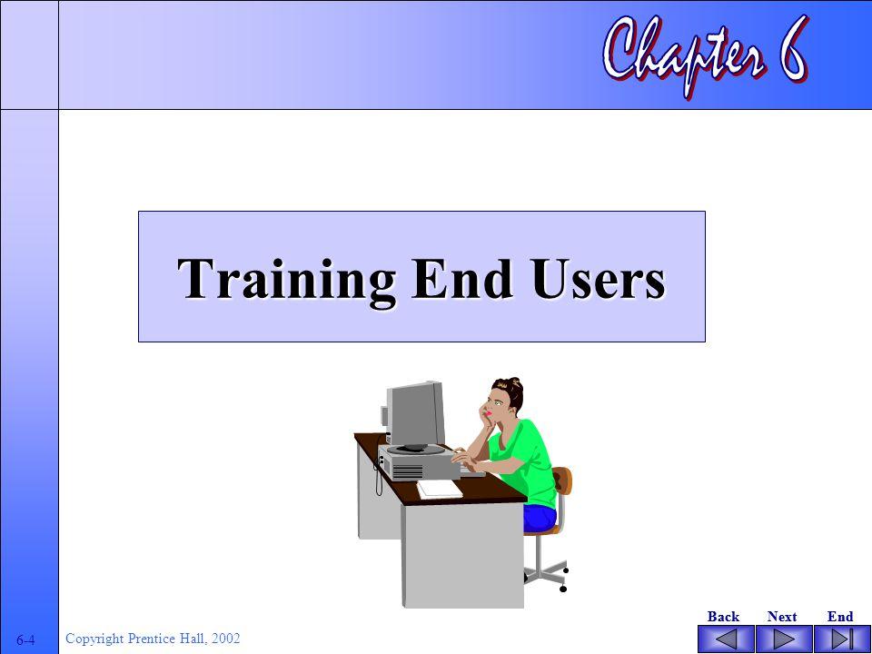 BackNextEndBackNextEnd 6-4 Copyright Prentice Hall, 2002 Training End Users