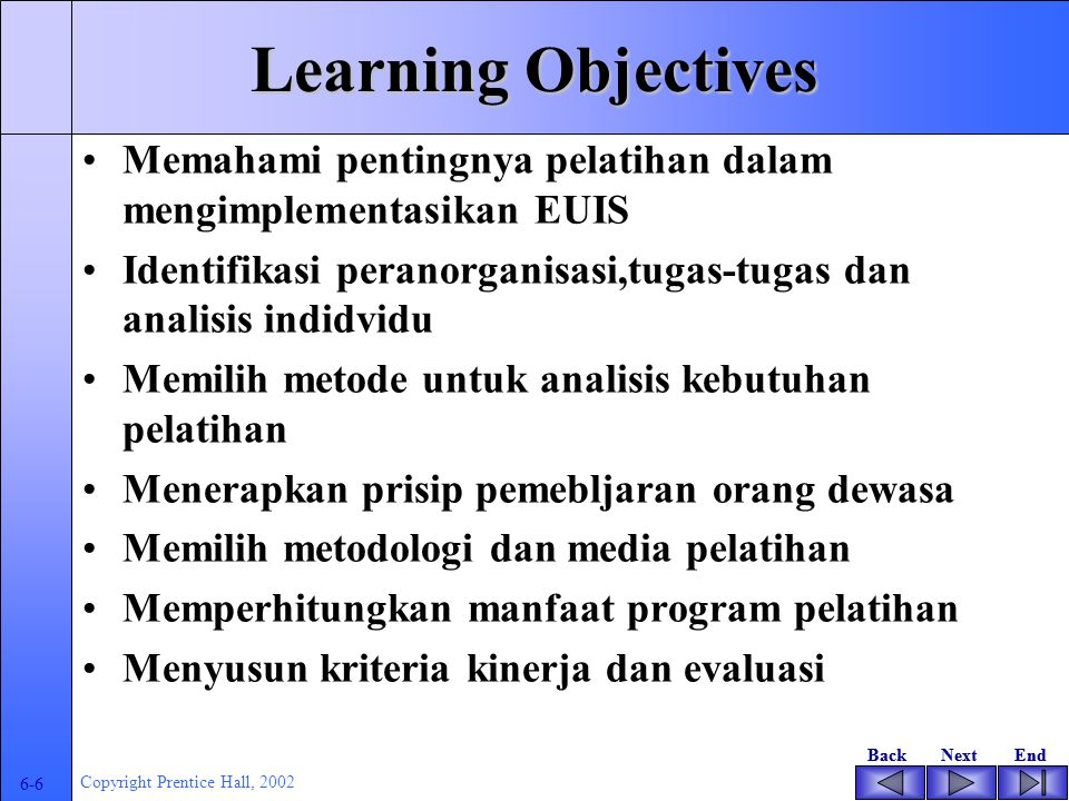 BackNextEndBackNextEnd 6-5 Copyright Prentice Hall, 2002 Learning Objectives Understand the importance of training in implementing end-user informatio