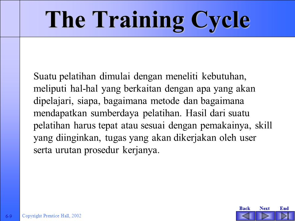 BackNextEndBackNextEnd 6-8 Copyright Prentice Hall, 2002 The Training Cycle Assesment Menentukan landasan pemilihan pelatihan sesuai kebutuhan user De