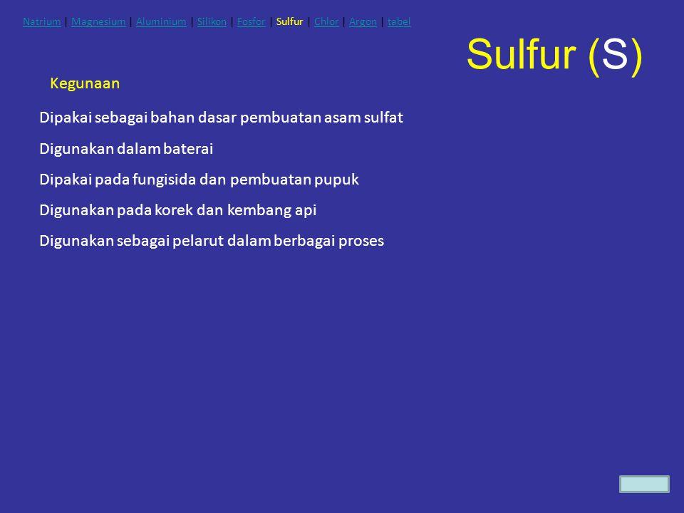 Kegunaan Dipakai sebagai bahan dasar pembuatan asam sulfat Digunakan dalam baterai Dipakai pada fungisida dan pembuatan pupuk Digunakan pada korek dan