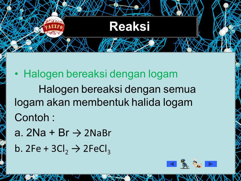 Reaksi – reaksi halogen Reaksi halogen dengan gas hidrogen  Semua halogen (X ₂) dapat bereaksi dengan gas hidrogen  Membentuk hidrogen haida(HX) H₂ + X₂ → 2HX contoh H₂ + Cl → 2HCl H₂ + I₂→ 2HI
