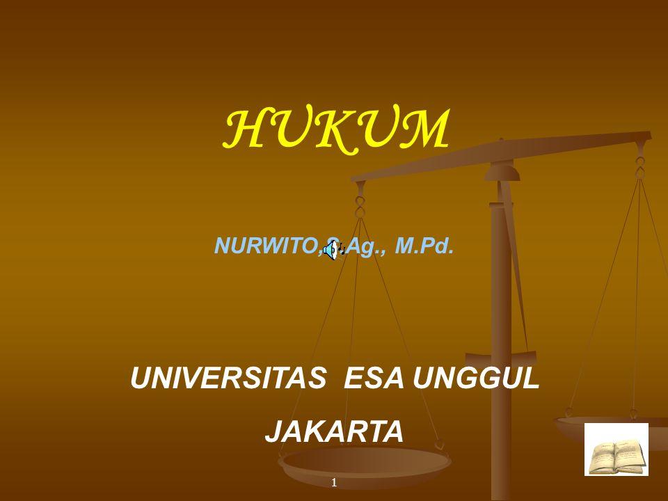 1 HUKUM NURWITO,S.Ag., M.Pd. UNIVERSITAS ESA UNGGUL JAKARTA