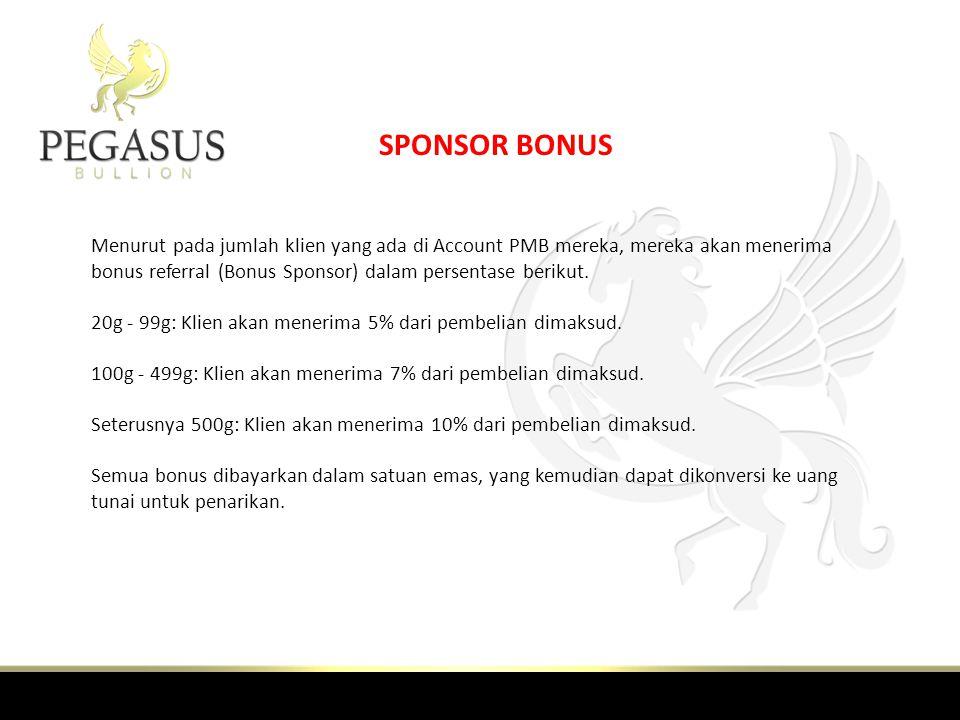 SPONSOR BONUS Menurut pada jumlah klien yang ada di Account PMB mereka, mereka akan menerima bonus referral (Bonus Sponsor) dalam persentase berikut.