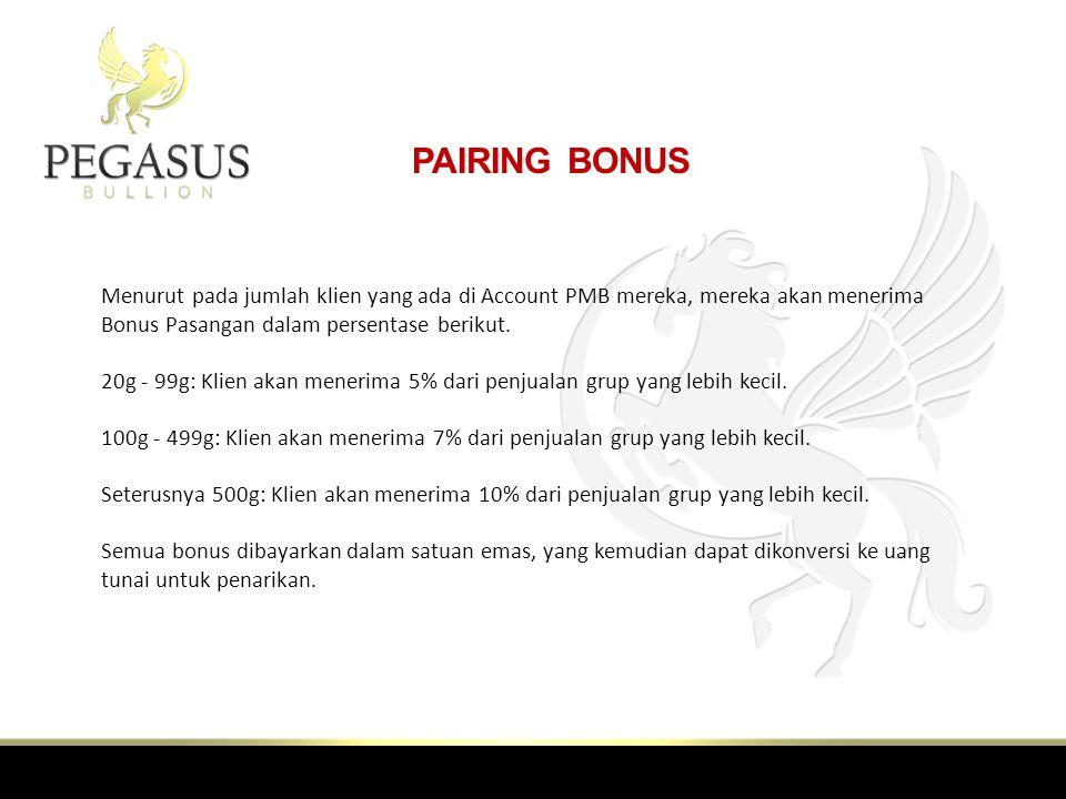 PAIRING BONUS Menurut pada jumlah klien yang ada di Account PMB mereka, mereka akan menerima Bonus Pasangan dalam persentase berikut.