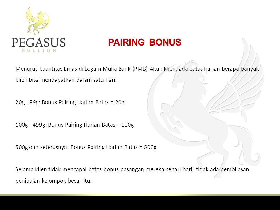 PAIRING BONUS Menurut kuantitas Emas di Logam Mulia Bank (PMB) Akun klien, ada batas harian berapa banyak klien bisa mendapatkan dalam satu hari.
