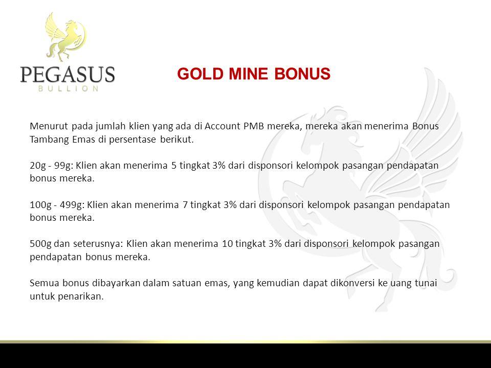 GOLD MINE BONUS Menurut pada jumlah klien yang ada di Account PMB mereka, mereka akan menerima Bonus Tambang Emas di persentase berikut.