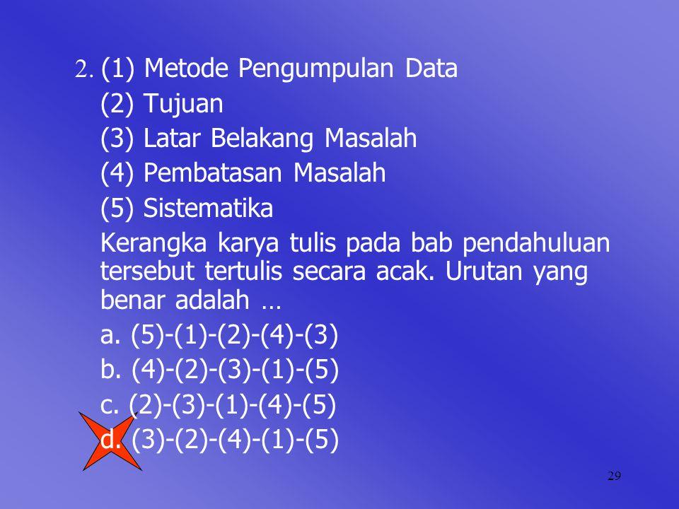 29 2. (1) Metode Pengumpulan Data (2) Tujuan (3) Latar Belakang Masalah (4) Pembatasan Masalah (5) Sistematika Kerangka karya tulis pada bab pendahulu