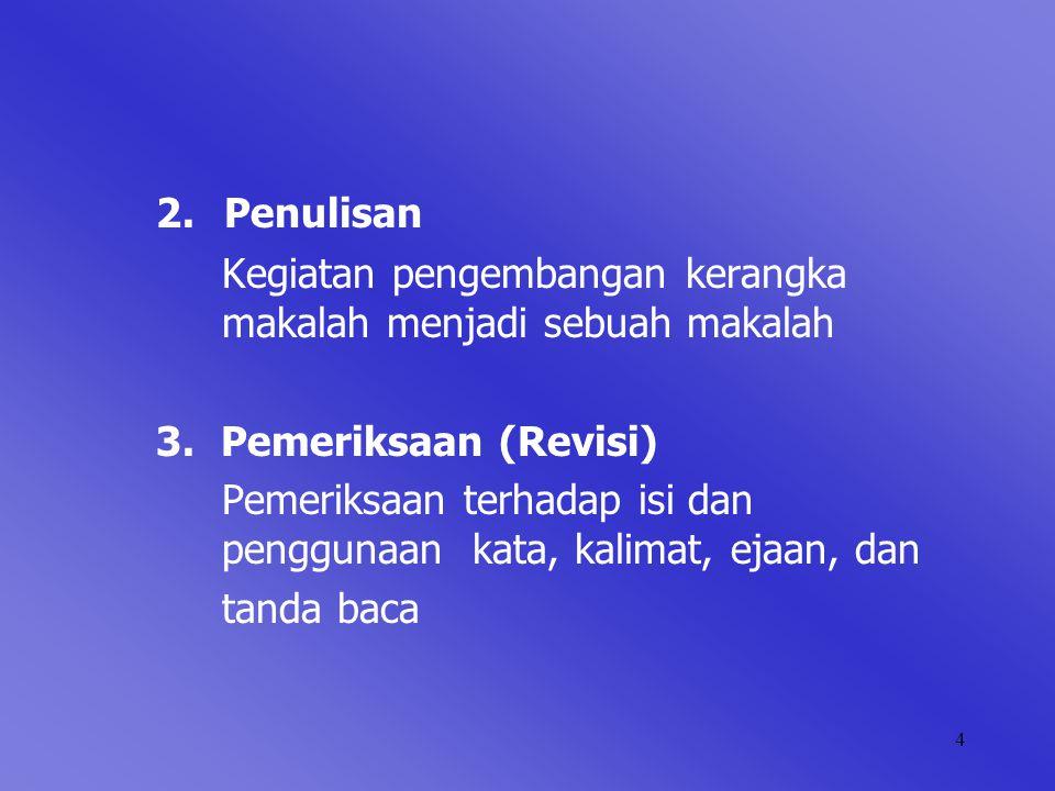4 2. Penulisan Kegiatan pengembangan kerangka makalah menjadi sebuah makalah 3. Pemeriksaan (Revisi) Pemeriksaan terhadap isi dan penggunaan kata, kal
