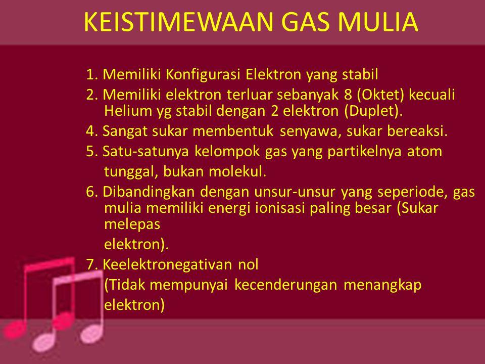 KEISTIMEWAAN GAS MULIA 1. Memiliki Konfigurasi Elektron yang stabil 2. Memiliki elektron terluar sebanyak 8 (Oktet) kecuali Helium yg stabil dengan 2