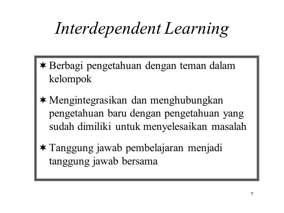  Berbagi pengetahuan dengan teman dalam kelompok  Mengintegrasikan dan menghubungkan pengetahuan baru dengan pengetahuan yang sudah dimiliki untuk m