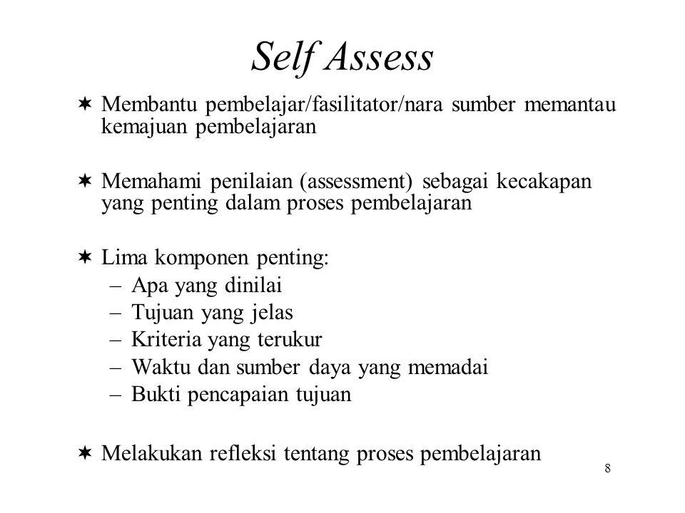Self Assess  Membantu pembelajar/fasilitator/nara sumber memantau kemajuan pembelajaran  Memahami penilaian (assessment) sebagai kecakapan yang pent