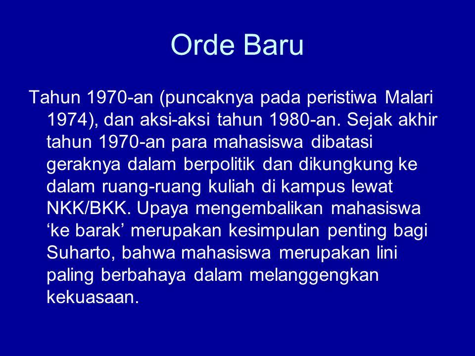 Orde Baru Tahun 1970-an (puncaknya pada peristiwa Malari 1974), dan aksi-aksi tahun 1980-an.