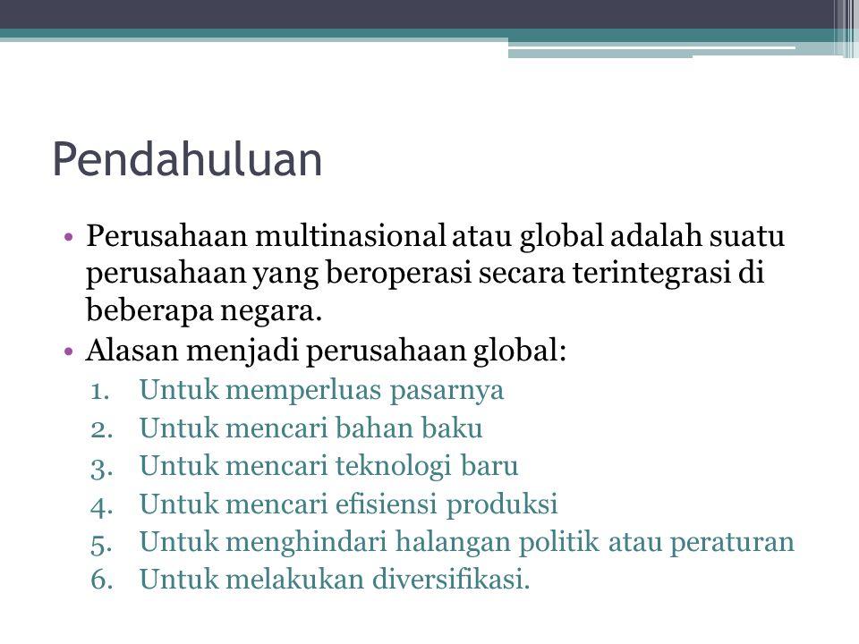 Pendahuluan Perusahaan multinasional atau global adalah suatu perusahaan yang beroperasi secara terintegrasi di beberapa negara. Alasan menjadi perusa