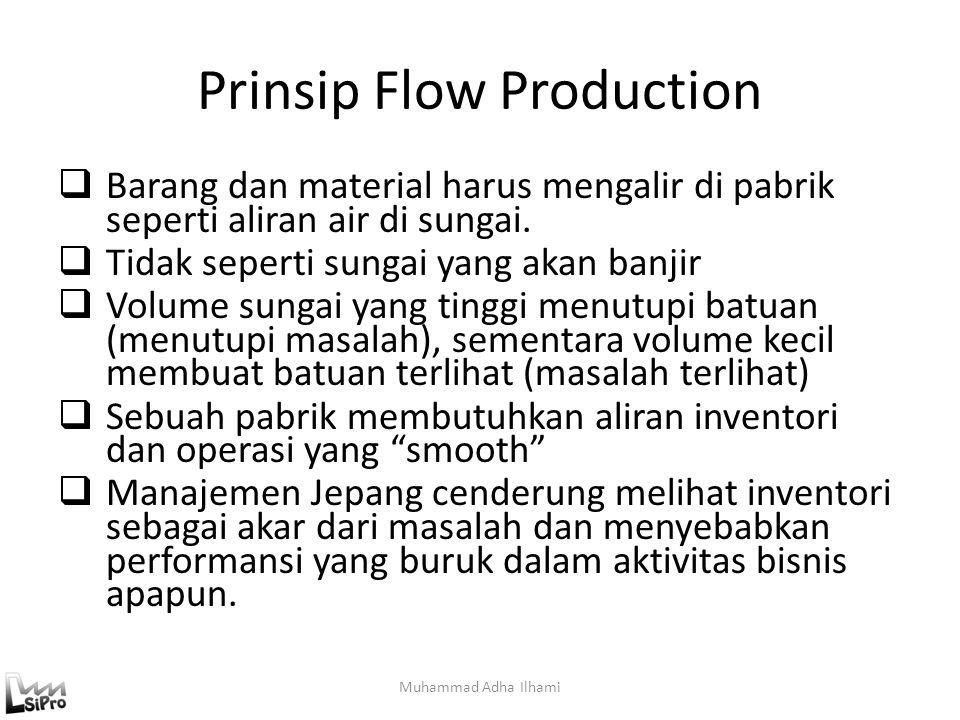 Prinsip Flow Production  Barang dan material harus mengalir di pabrik seperti aliran air di sungai.  Tidak seperti sungai yang akan banjir  Volume