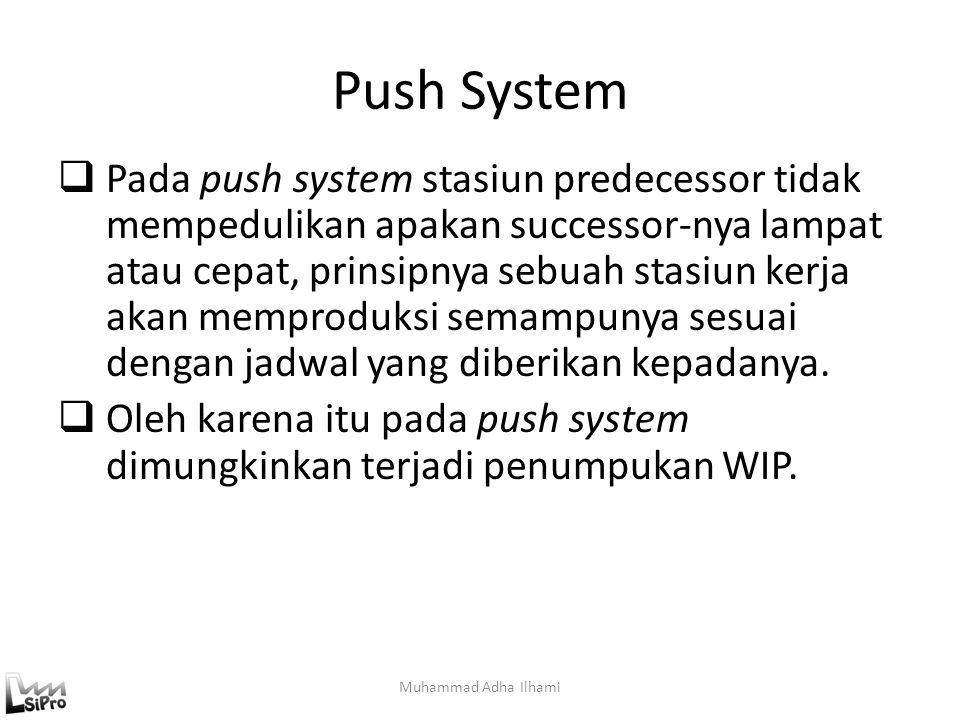 Push System  Pada push system stasiun predecessor tidak mempedulikan apakan successor-nya lampat atau cepat, prinsipnya sebuah stasiun kerja akan mem