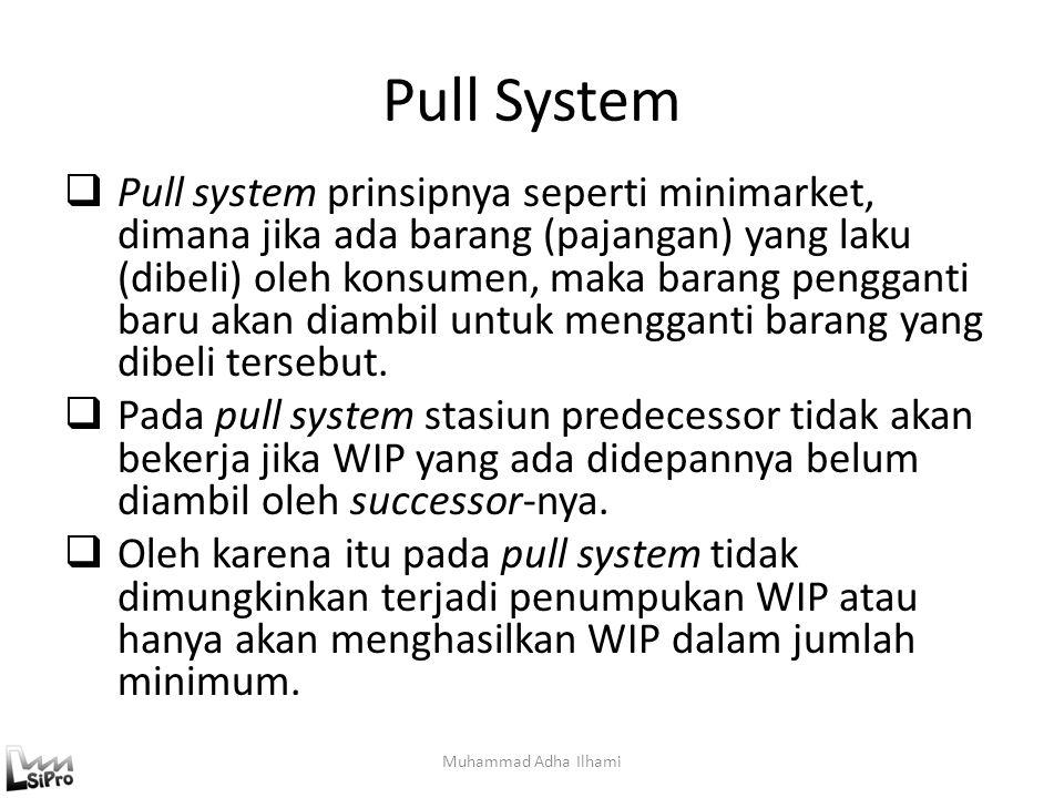 Pull System  Pull system prinsipnya seperti minimarket, dimana jika ada barang (pajangan) yang laku (dibeli) oleh konsumen, maka barang pengganti bar