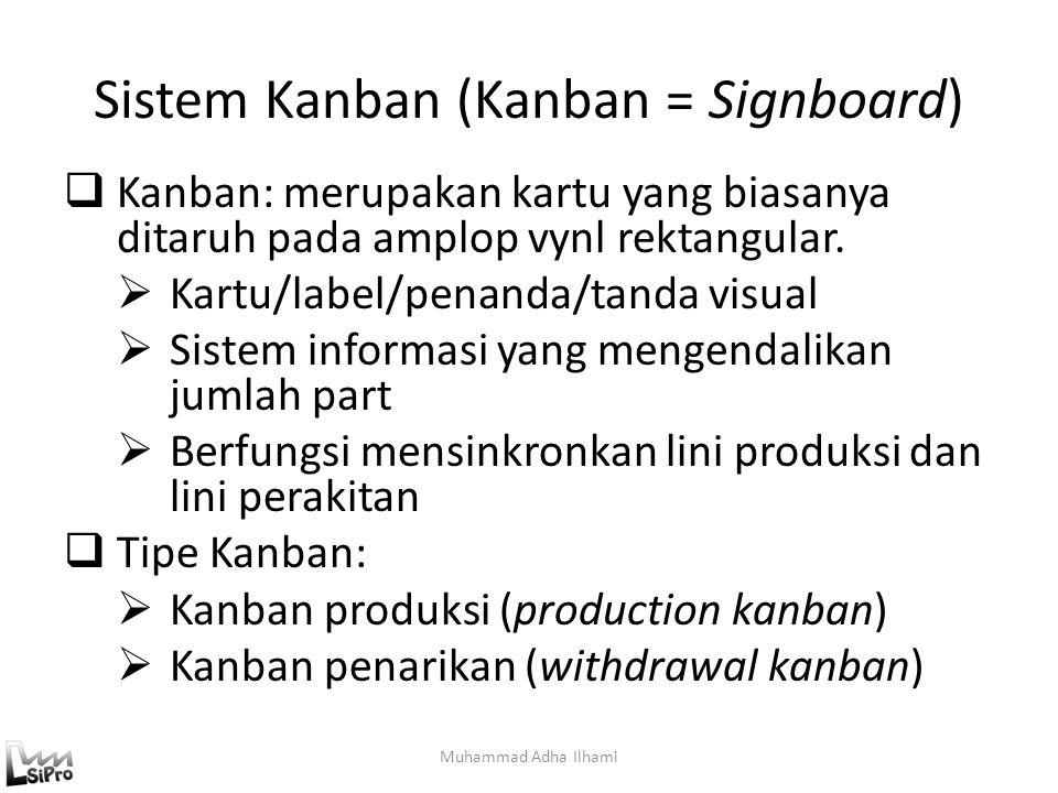 Sistem Kanban (Kanban = Signboard)  Kanban: merupakan kartu yang biasanya ditaruh pada amplop vynl rektangular.  Kartu/label/penanda/tanda visual 