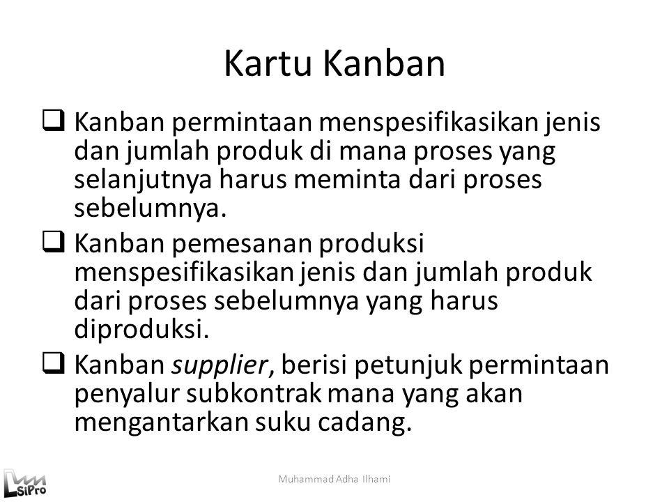 Kartu Kanban  Kanban permintaan menspesifikasikan jenis dan jumlah produk di mana proses yang selanjutnya harus meminta dari proses sebelumnya.  Kan