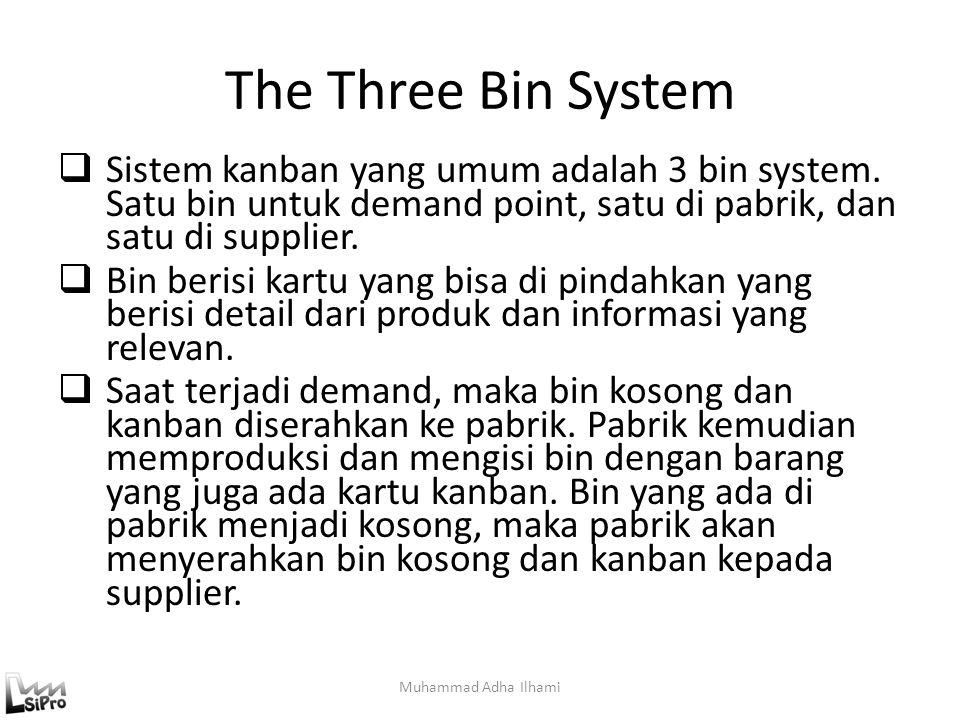 The Three Bin System  Sistem kanban yang umum adalah 3 bin system. Satu bin untuk demand point, satu di pabrik, dan satu di supplier.  Bin berisi ka