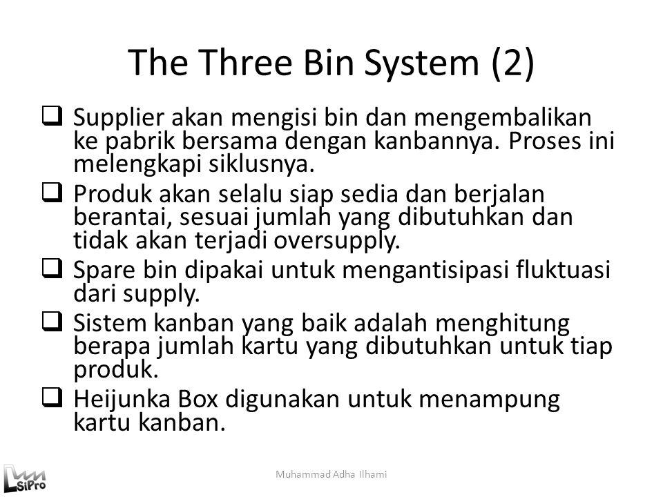 The Three Bin System (2)  Supplier akan mengisi bin dan mengembalikan ke pabrik bersama dengan kanbannya. Proses ini melengkapi siklusnya.  Produk a