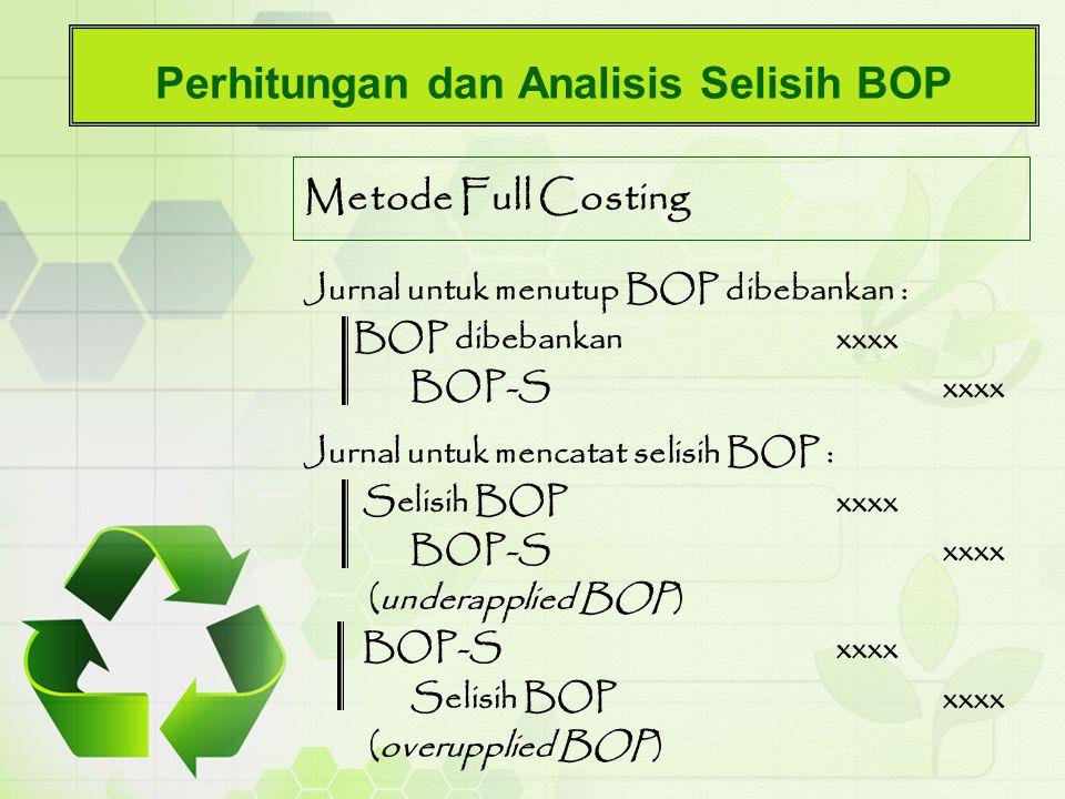 Perhitungan dan Analisis Selisih BOP Metode Full Costing Jurnal untuk menutup BOP dibebankan : BOP dibebankanxxxx BOP-Sxxxx Jurnal untuk mencatat seli