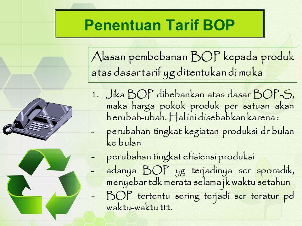 Penentuan Tarif BOP Alasan pembebanan BOP kepada produk atas dasar tarif yg ditentukan di muka 1.Jika BOP dibebankan atas dasar BOP-S, maka harga poko
