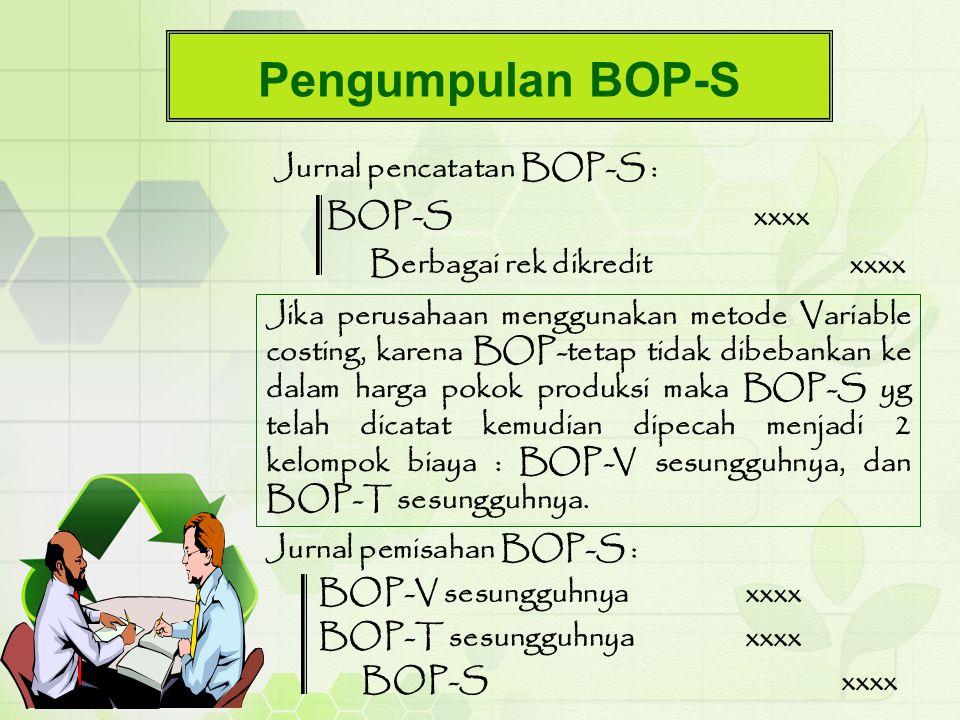 Pengumpulan BOP-S Jurnal pencatatan BOP-S : BOP-Sxxxx Berbagai rek dikreditxxxx Jika perusahaan menggunakan metode Variable costing, karena BOP-tetap