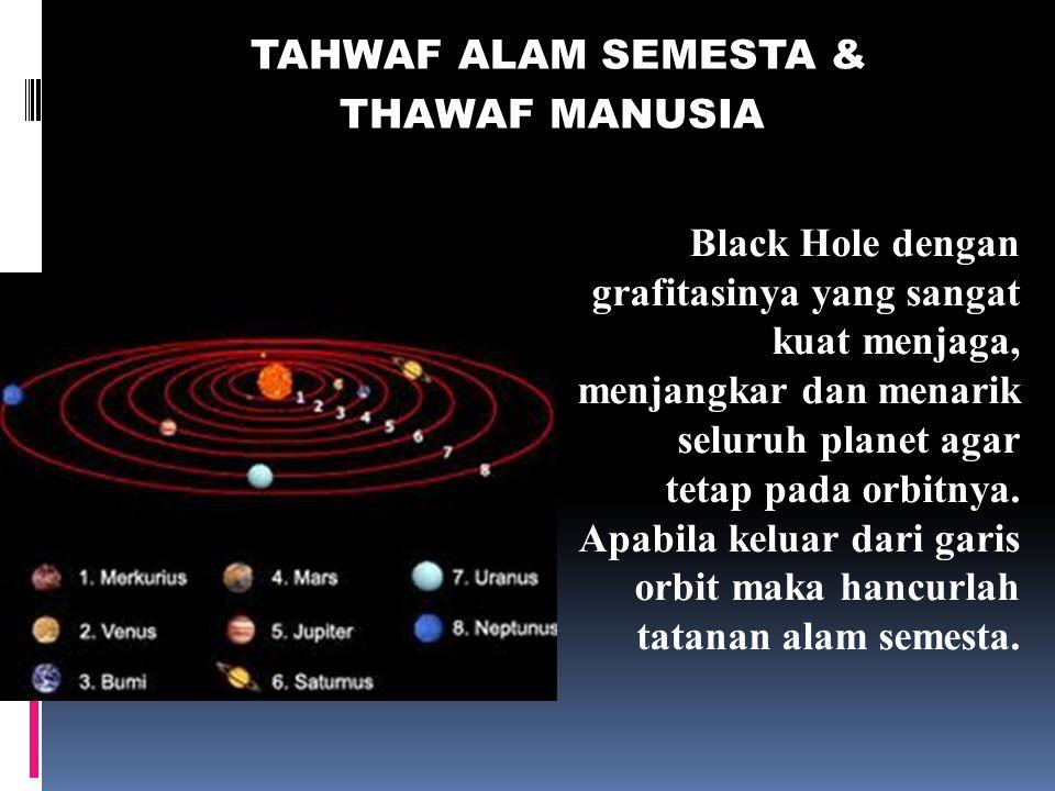 THAWAF ALAM SEMESTA Langit yang tujuh, bumi dan semua yang ada di dalamnya bertasbih kepada Allah. Dan tak ada suatupun melainkan bertasbih dengan mem